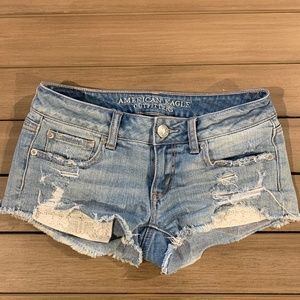 American Eagle Super Low Shortie Shorts Distressed